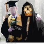 Student with debt sign and skull